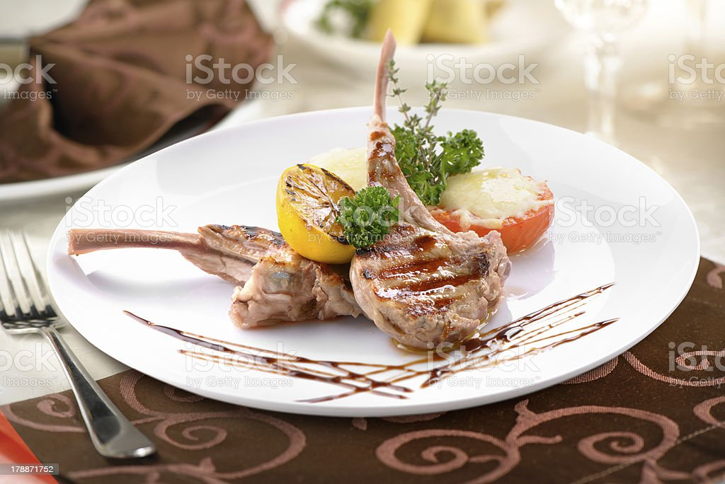 grilled veal with vegetables royalty-free stock photo
