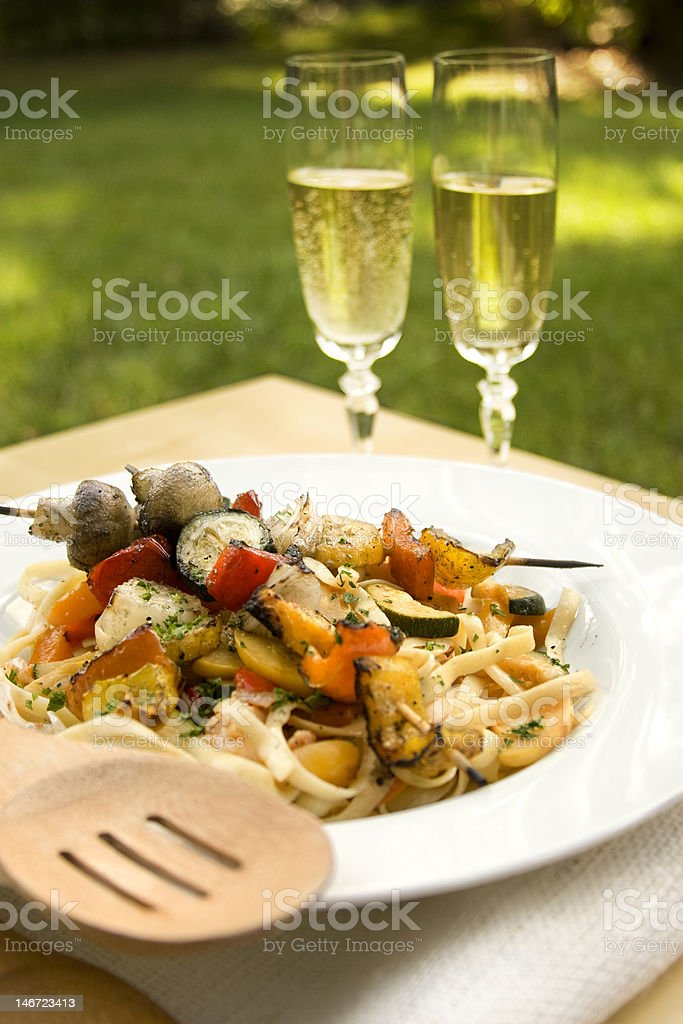 Grilled Vegetable Linguini royalty-free stock photo