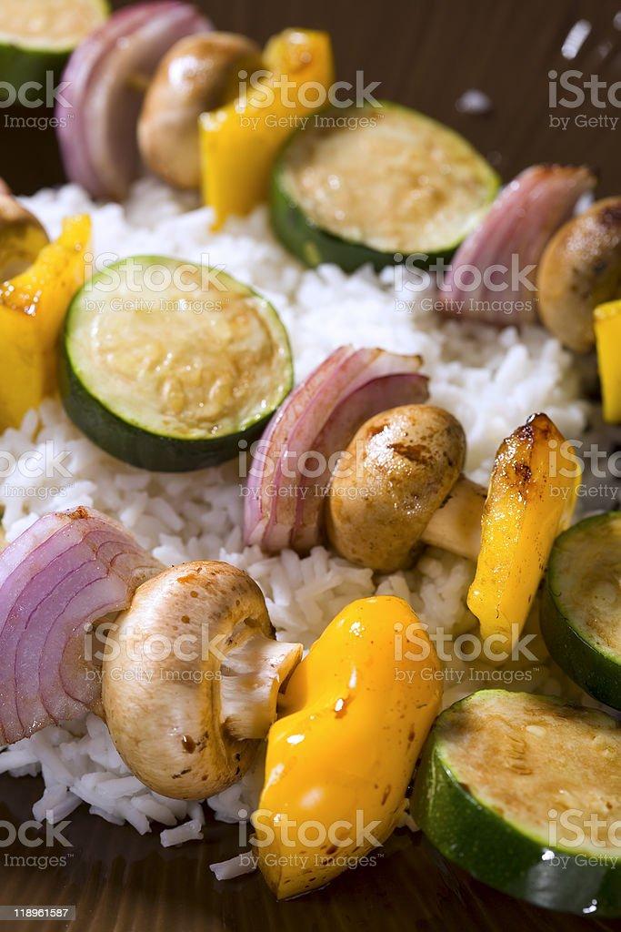 Grilled Vegetable Shish Kebobs stock photo