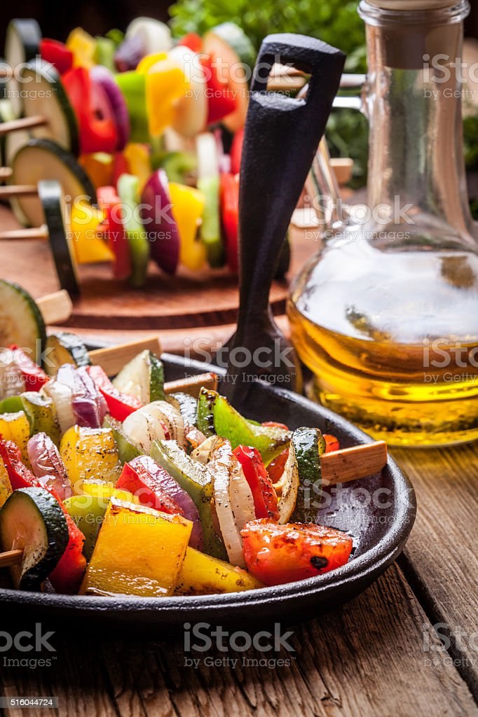 Grilled vegetable skewers. stock photo