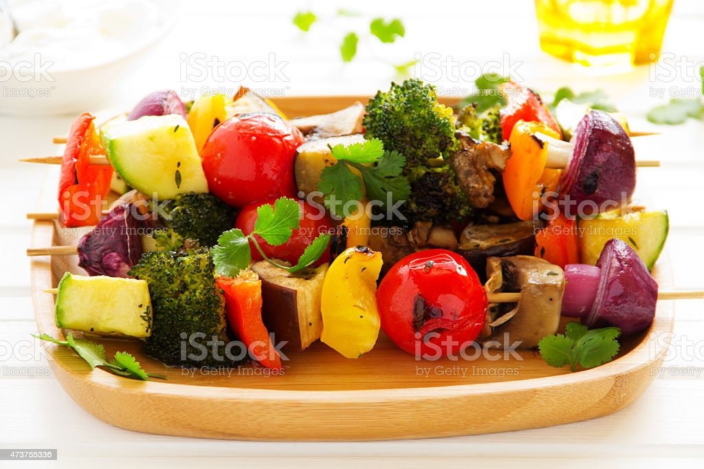 Grilled Vegetable skewers ready to eat stock photo