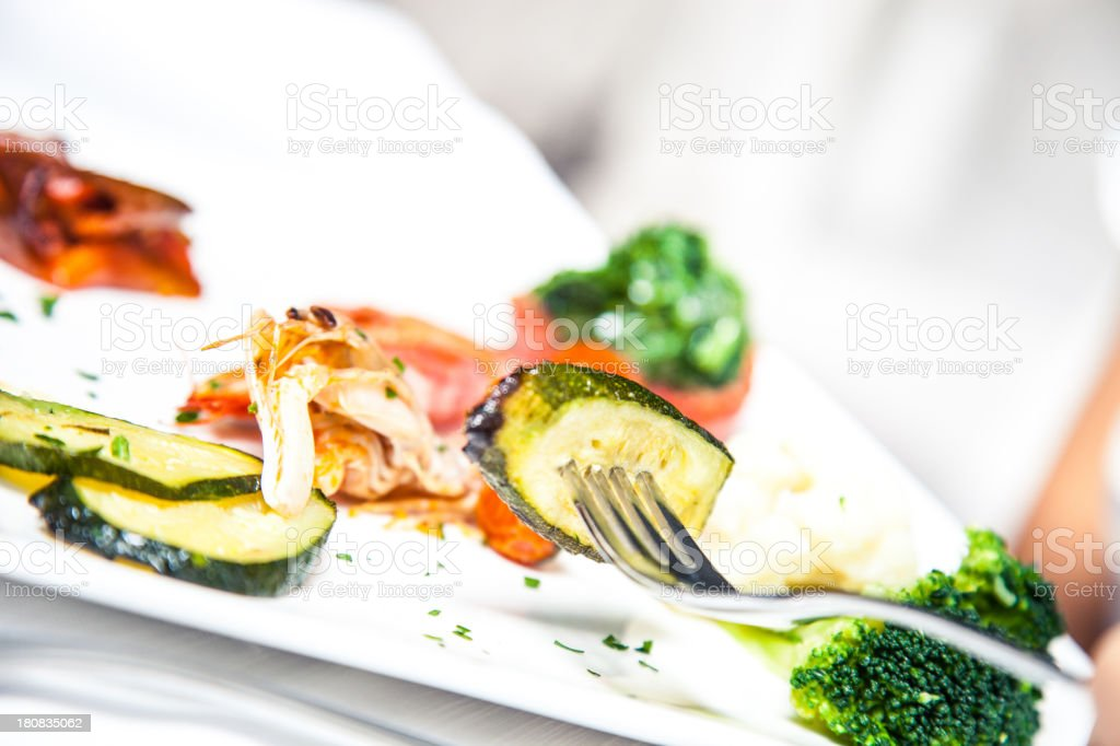 Grilled vegetables and fish royalty-free stock photo