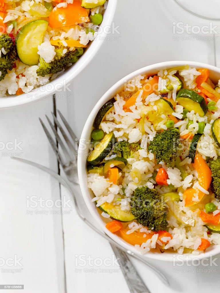Grilled Vegetables and Rice stock photo