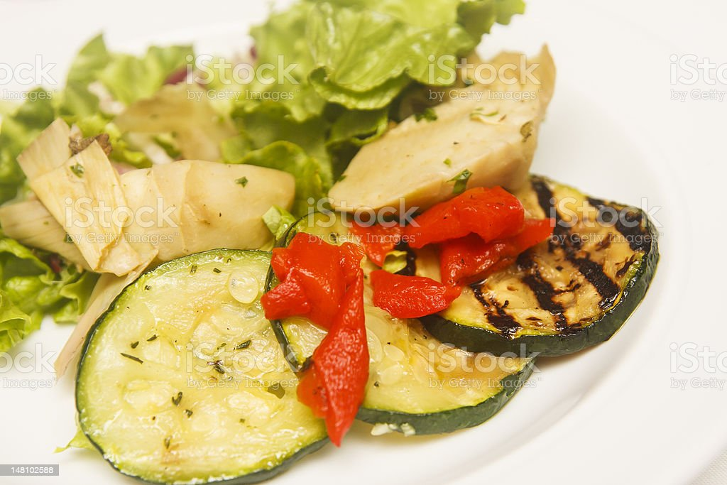 Grilled Vegetables and Salad royalty-free stock photo