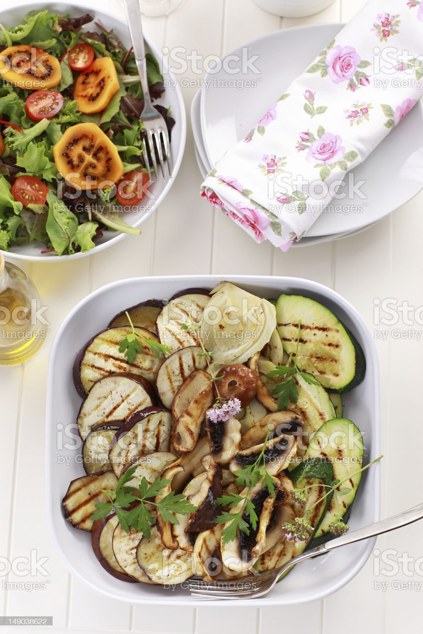 Grilled vegetables and salad with tamarillos royalty-free stock photo