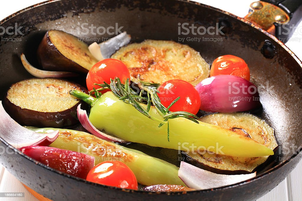 Grilled vegetables in a pan royalty-free stock photo