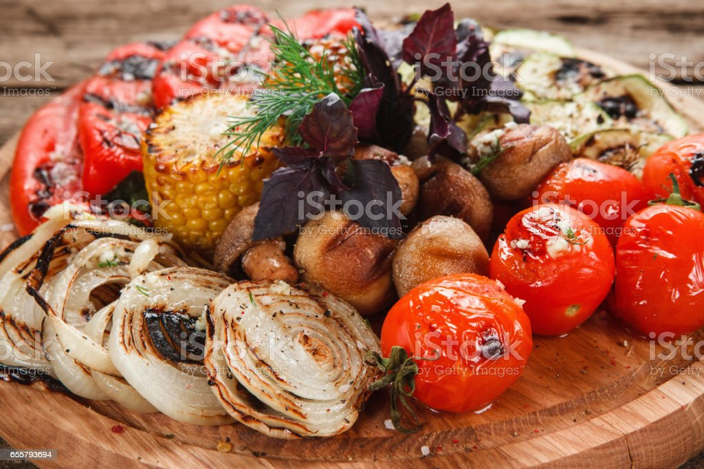 Grilled vegetables mix. Healthy vegetarian food. stock photo