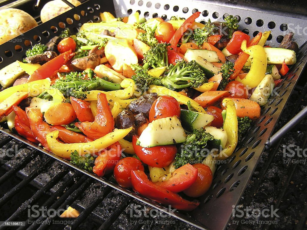 Grilled Vegetables on the BBQ stock photo