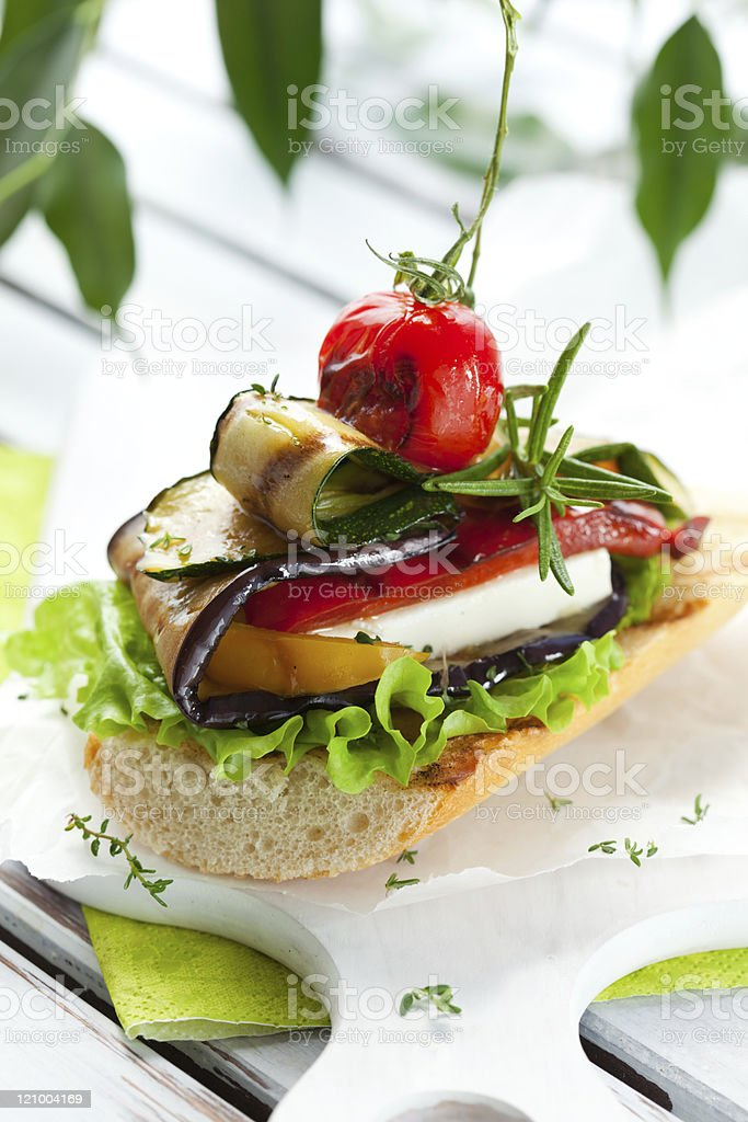 Grilled vegetables on toast royalty-free stock photo