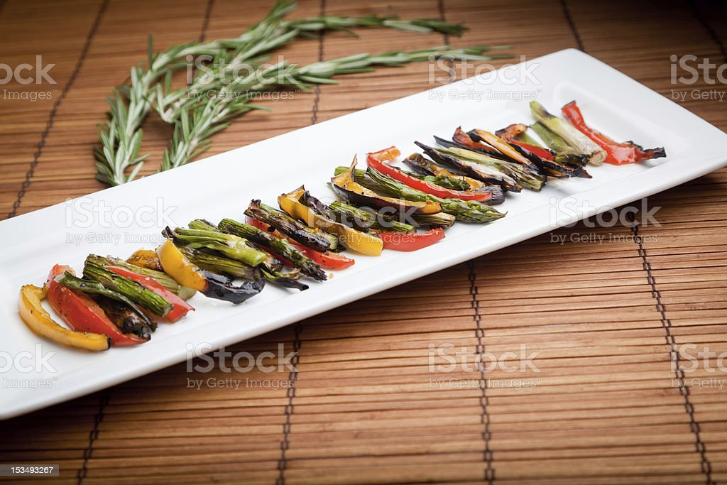 Grilled Vegetables Peppers, Onions and Asparagus royalty-free stock photo