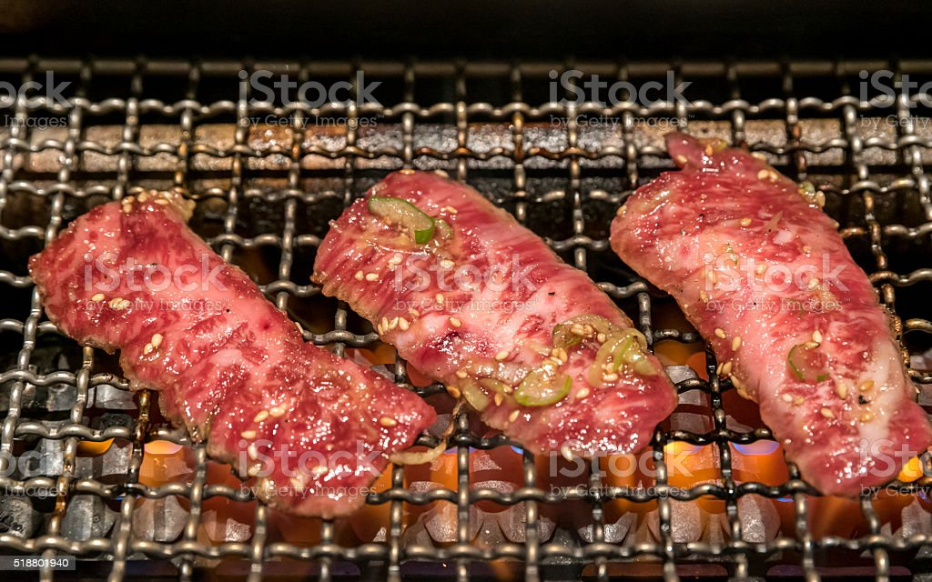 grilled wagyu beef stock photo
