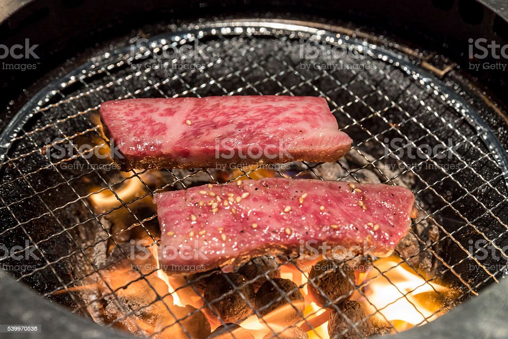 grilled wagyu Sirloin meat yakiniku stock photo