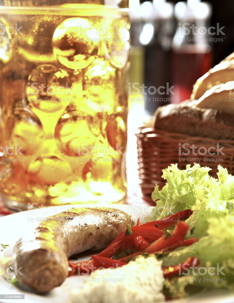Grilled white sausage royalty-free stock photo