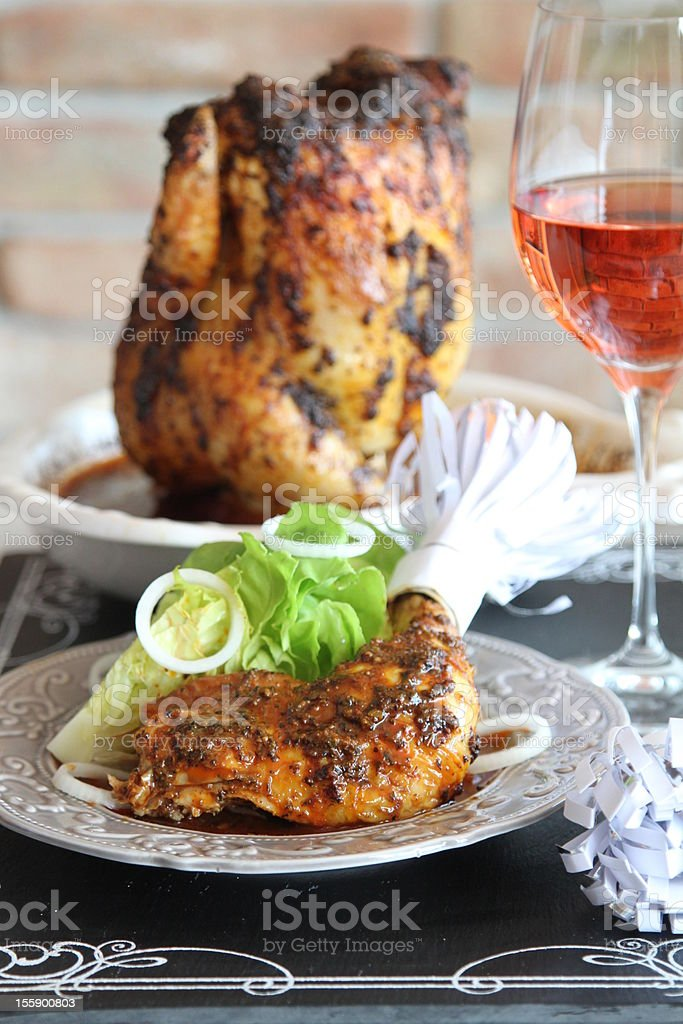 grilled whole chicken royalty-free stock photo