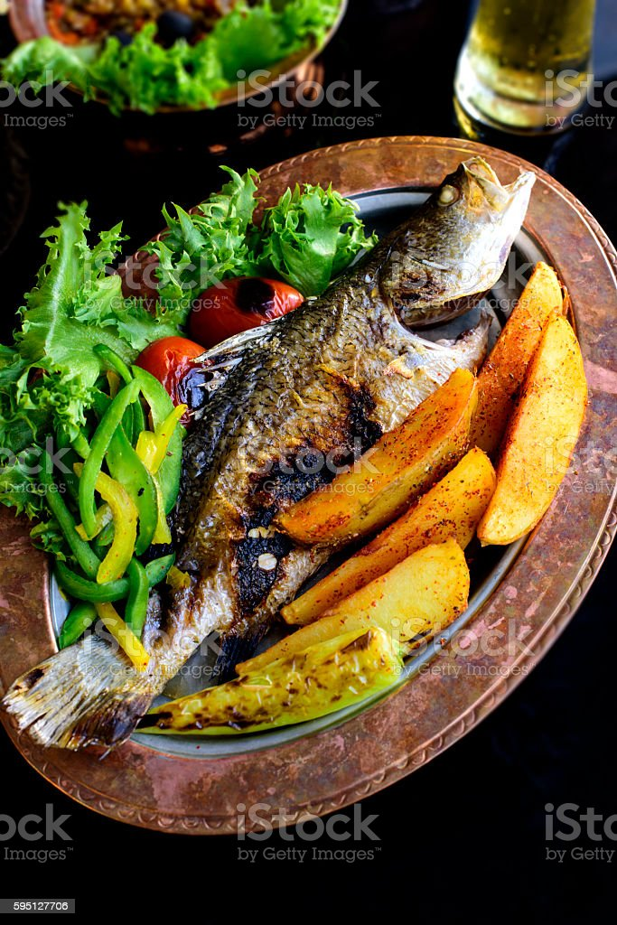 Grilled Whole Sea Perch stock photo