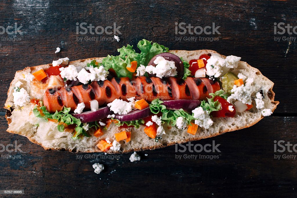 Grilled wurst stock photo