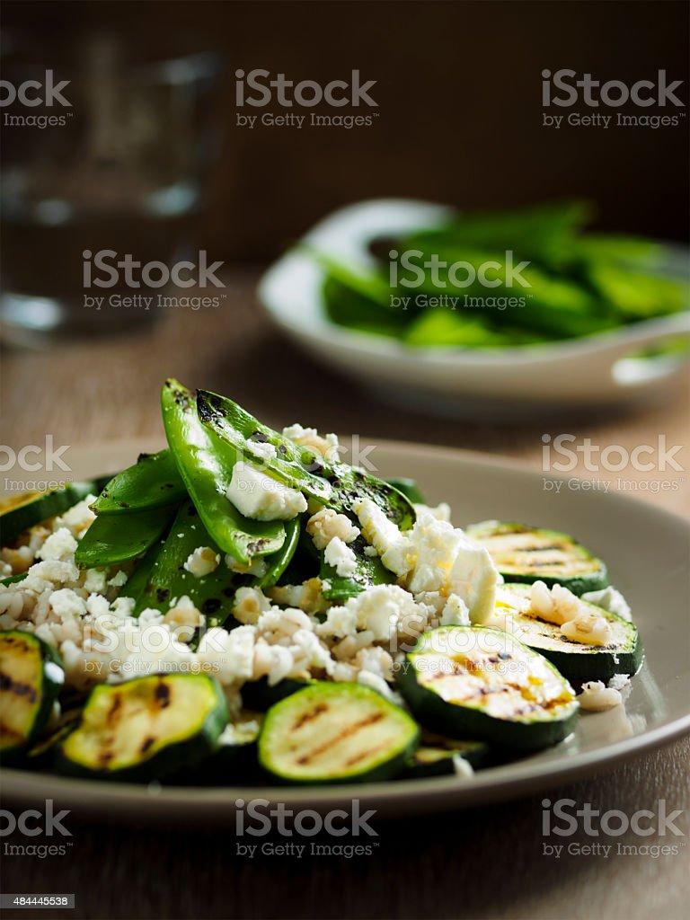 Grilled Zucchini and mangetout  salad stock photo