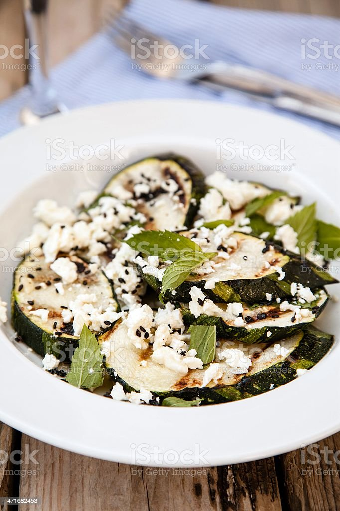 Grilled zucchini salad royalty-free stock photo