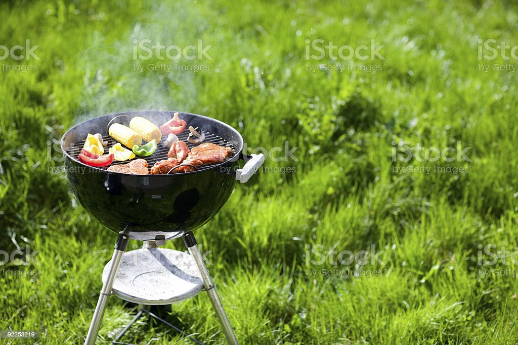 Grilling at summer weekend stock photo