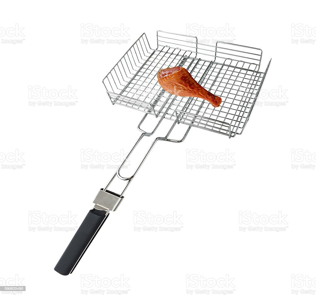Grilling basket with chicken meet isolated stock photo