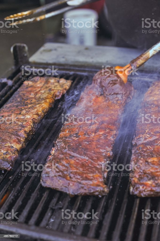Grilling Bbq barbecue, barbeque Pork Ribs At Summer Party stock photo