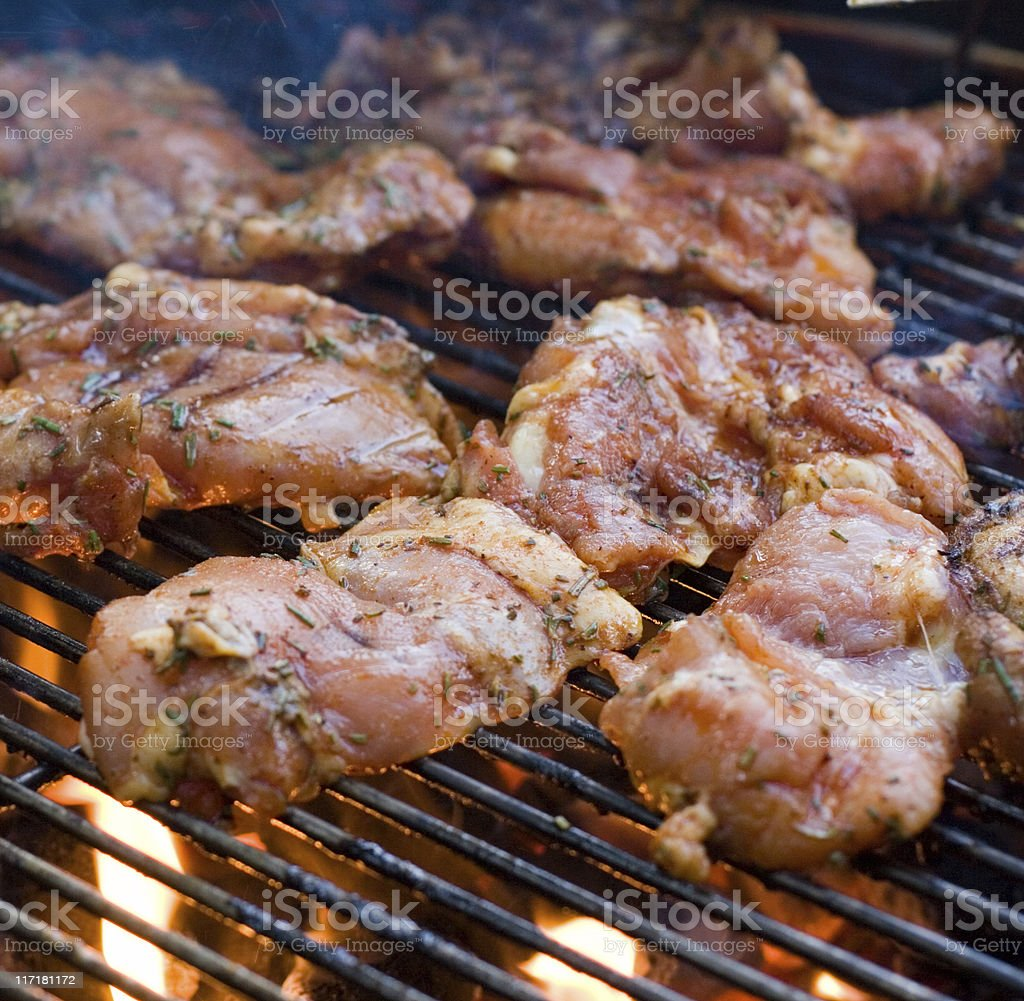 BBQ Grilling Chicken royalty-free stock photo