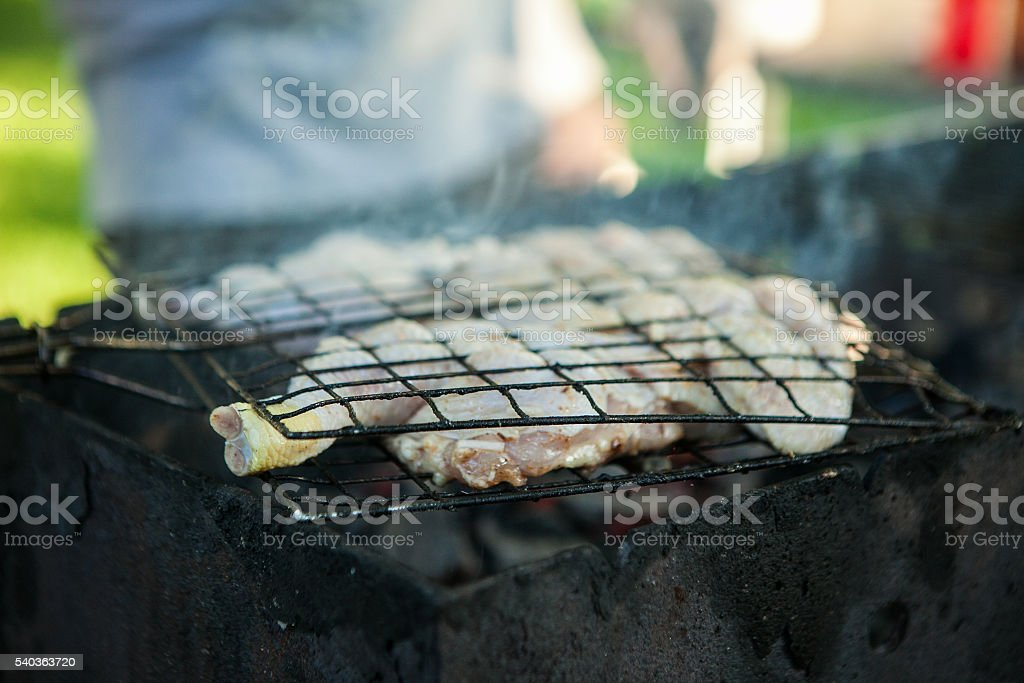 Grilling chicken wings on the grill over burning and smoking stock photo