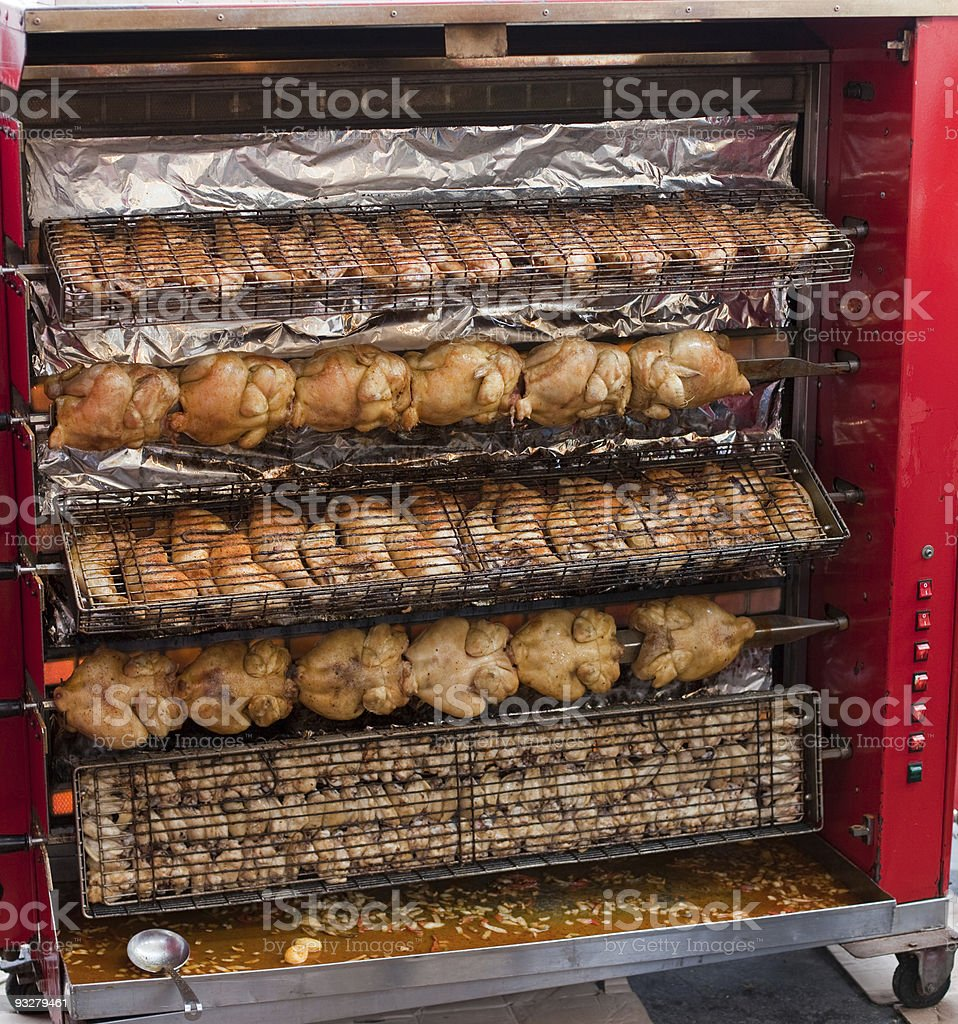 Grilling chickens royalty-free stock photo