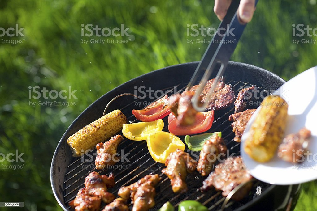 Grilling corn, vegetables and chicken royalty-free stock photo