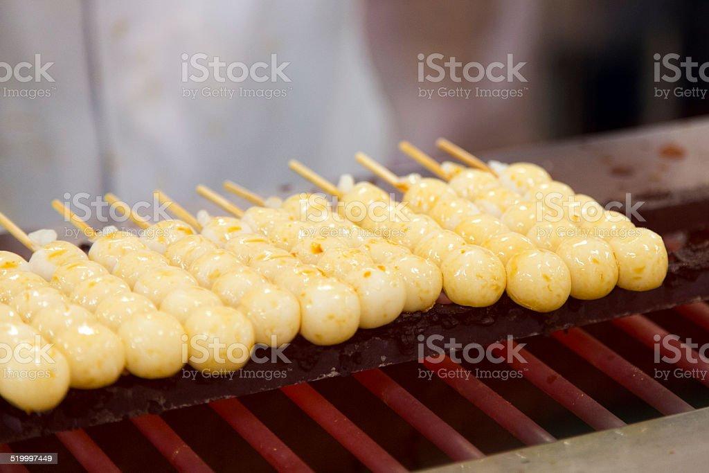 Grilling Dango stock photo