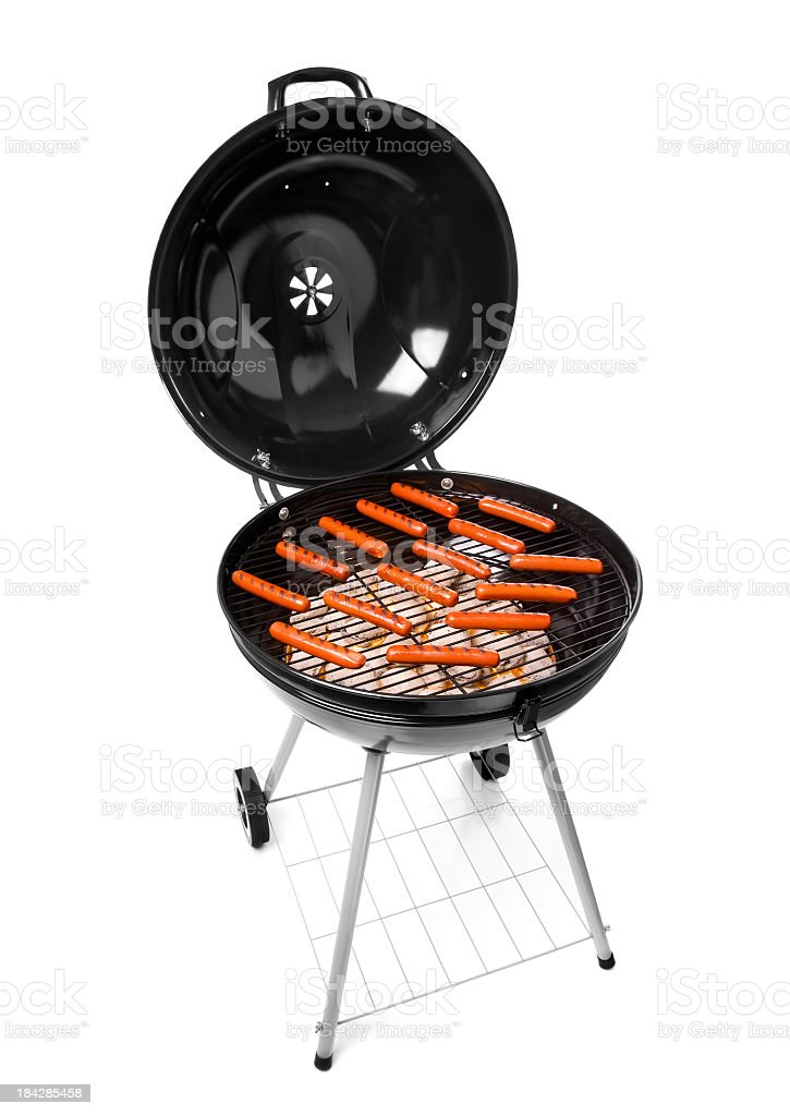 Grilling Hot Dogs stock photo