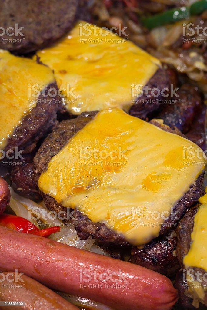 Grilling Hotdogs Hamburgers stock photo