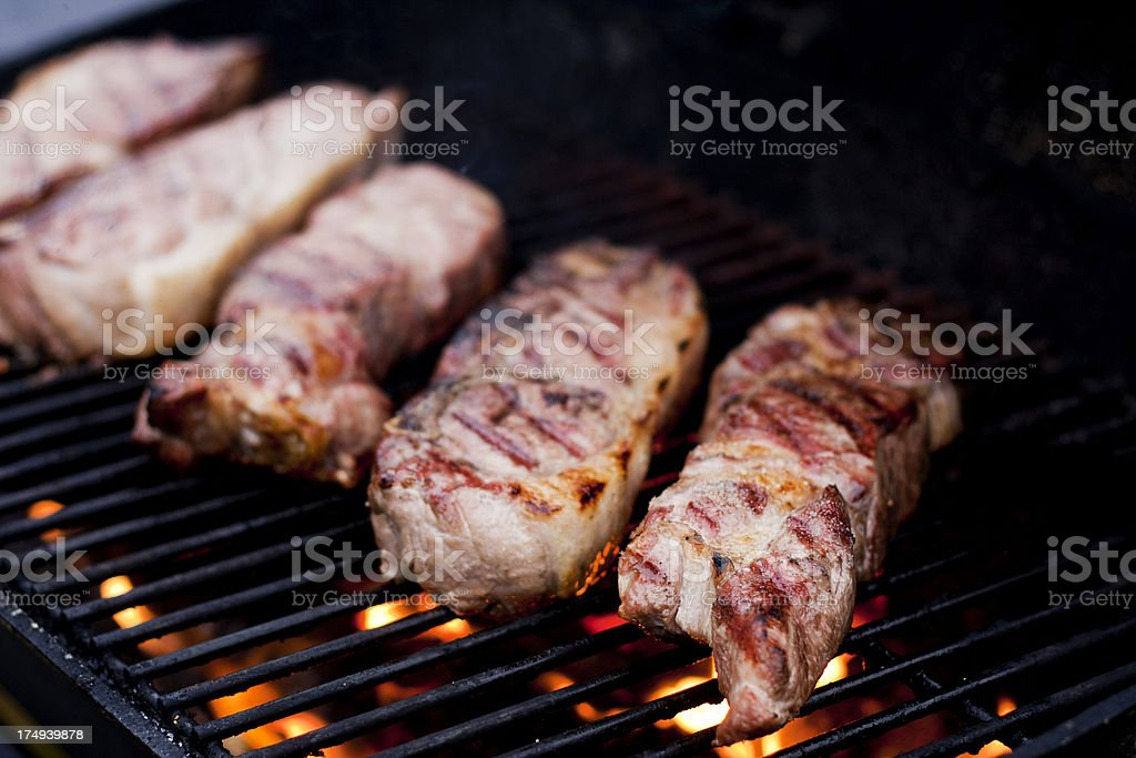 Grilling Pork Ribs stock photo