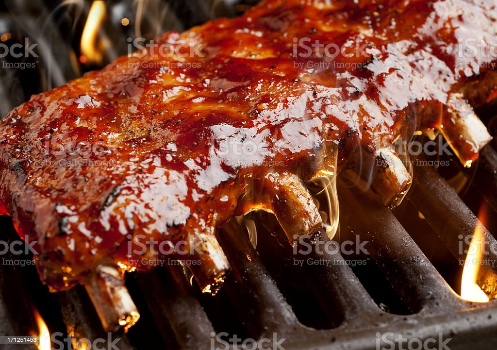 Grilling Ribs royalty-free stock photo