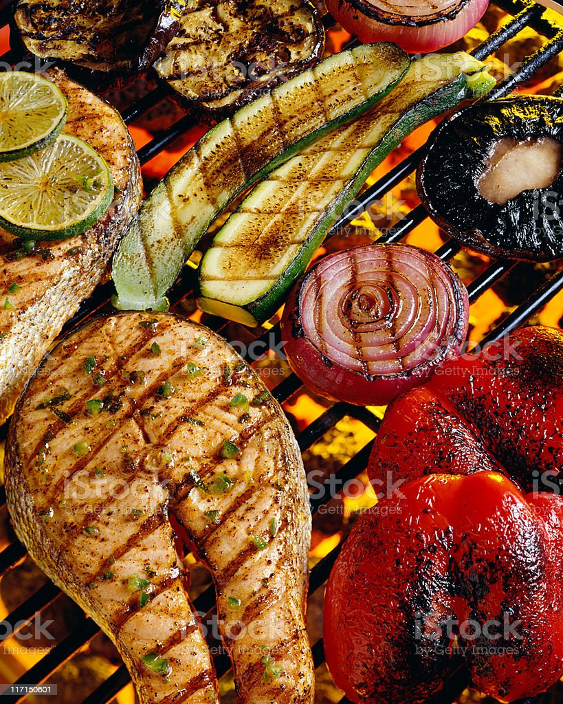 Grilling Seafood with vegetables royalty-free stock photo