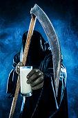Grim reaper holding milk
