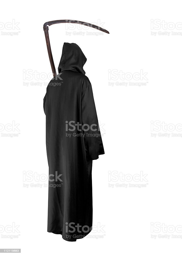 Grim reaper isolated on a white background stock photo