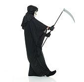 Grim reaper posing with scythe
