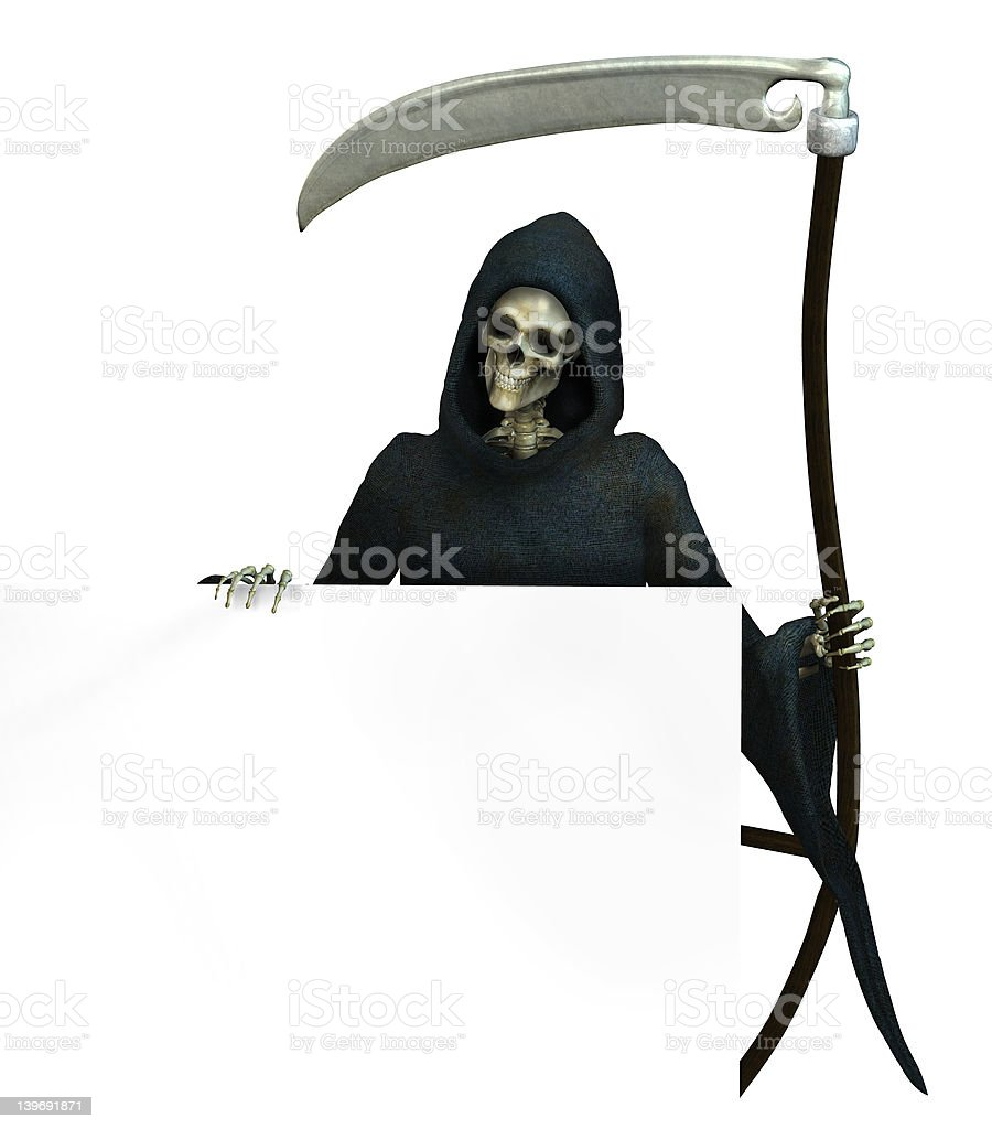 Grim Reaper with Sign Edge - includes clipping path royalty-free stock photo