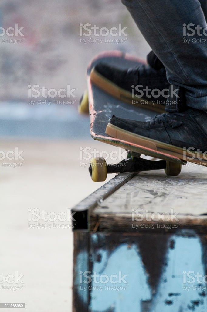 grind with skateboard stock photo