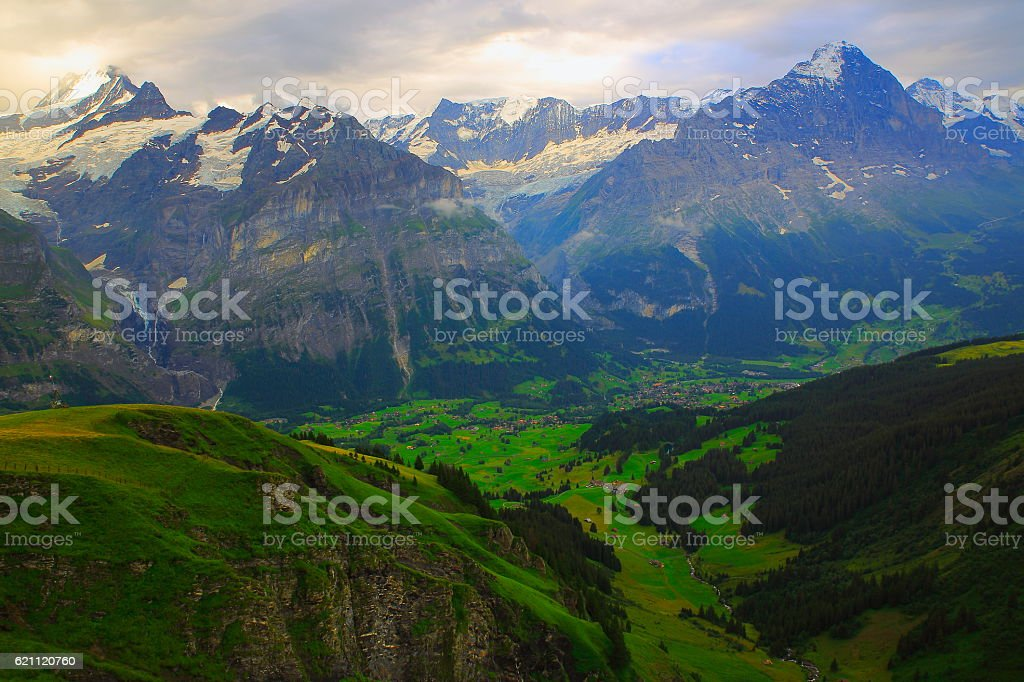 Grindelwald alpine valley panorama, Eiger and Monch Landscape, Swiss Alps stock photo