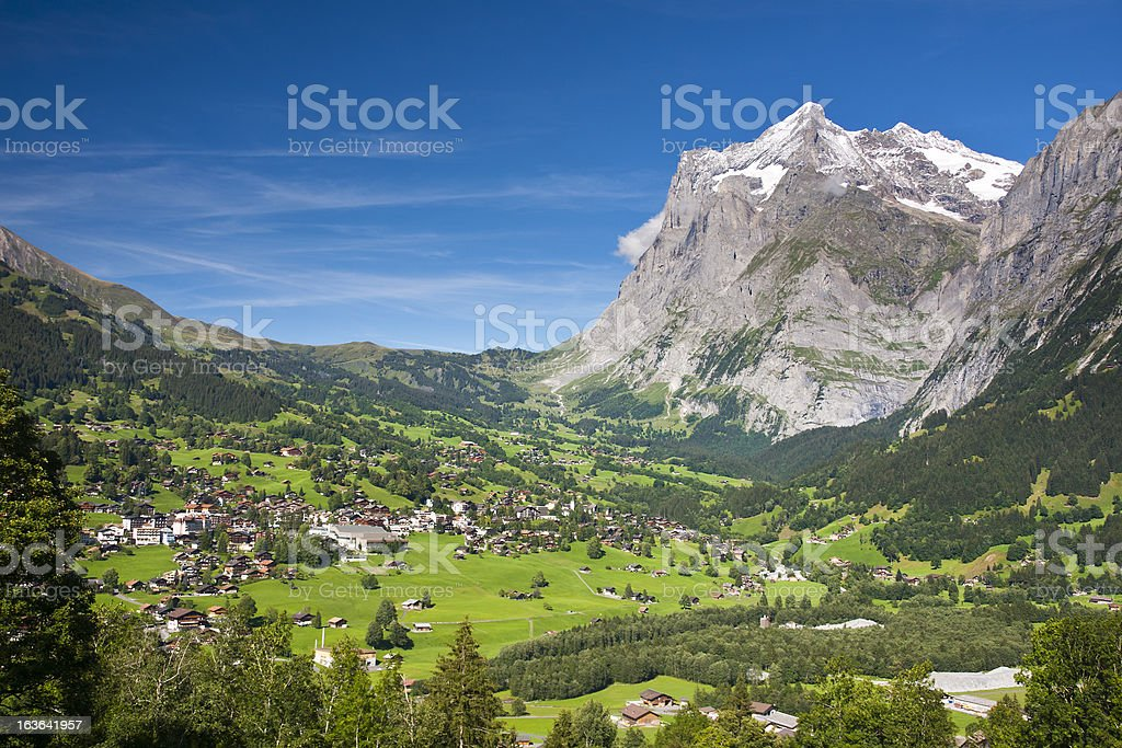 Grindelwald And Wetterhorn, Swiss Alps stock photo
