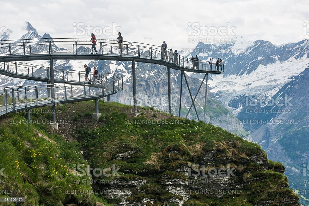 Grindelwald First peak with cliff walk stock photo