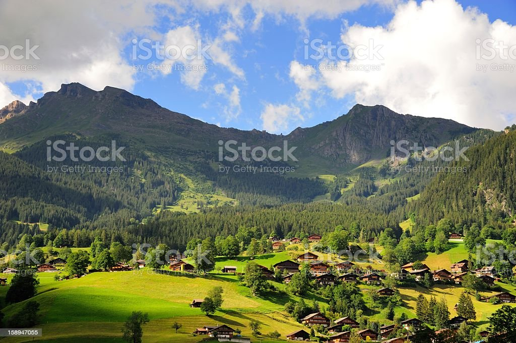 Grindelwald Village in Berner Oberland, Switzerland stock photo