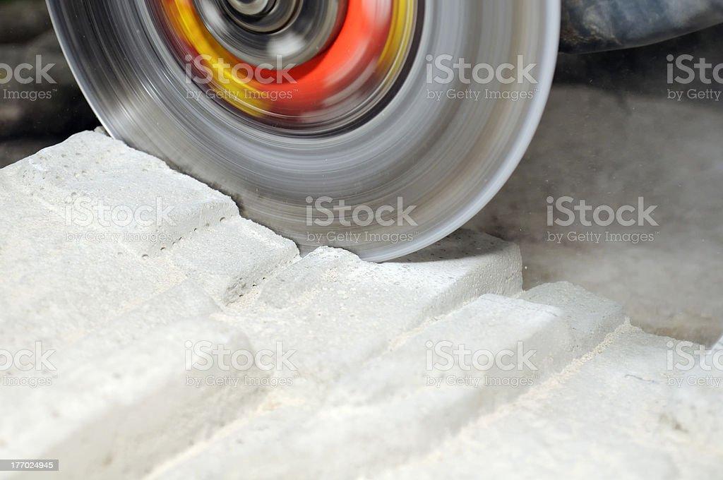 Grinder Cutting Concrete Block royalty-free stock photo