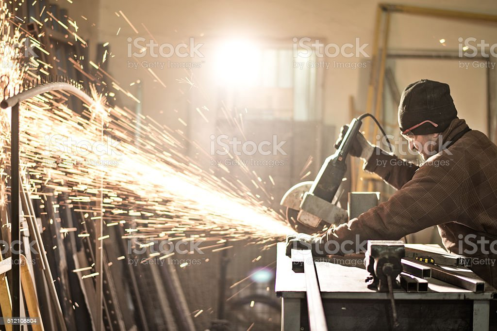 Grinder in workshop stock photo
