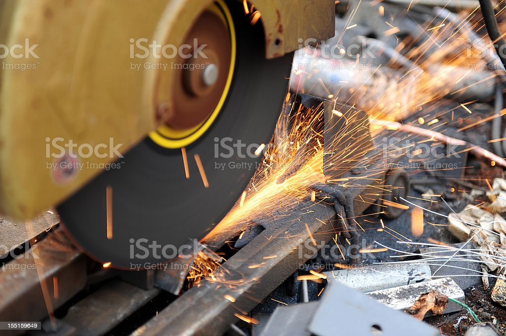 Grinder Steel Industry-Factory Grinding-Metal Sparks-Industrial Cutting Equipment stock photo