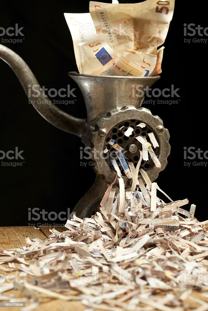 Grinder with Euro notes stock photo