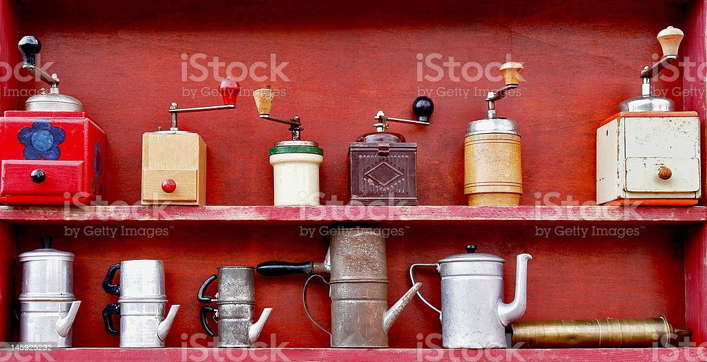Grinders and coffee makers stock photo