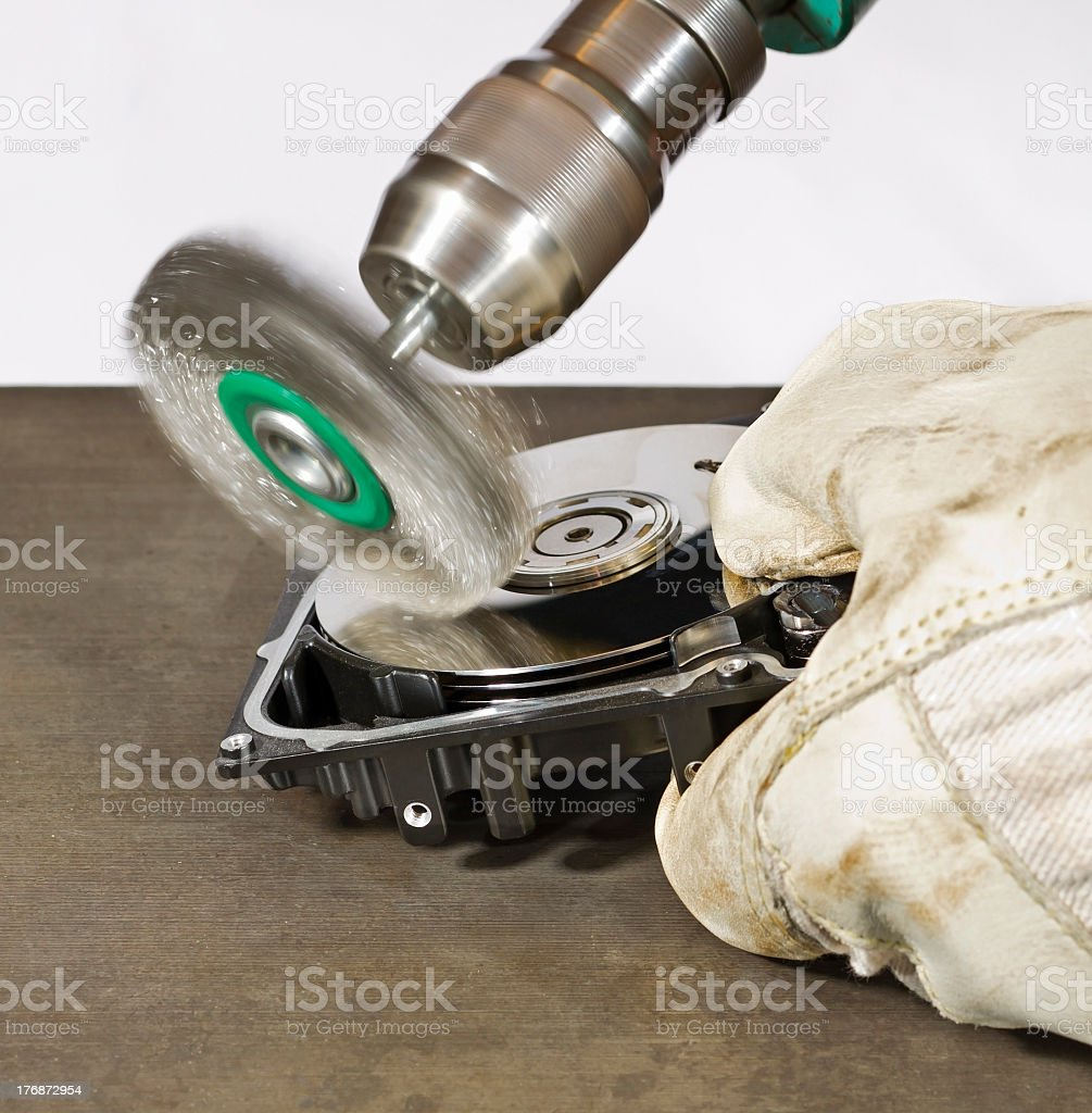 grinding a hard disk stock photo